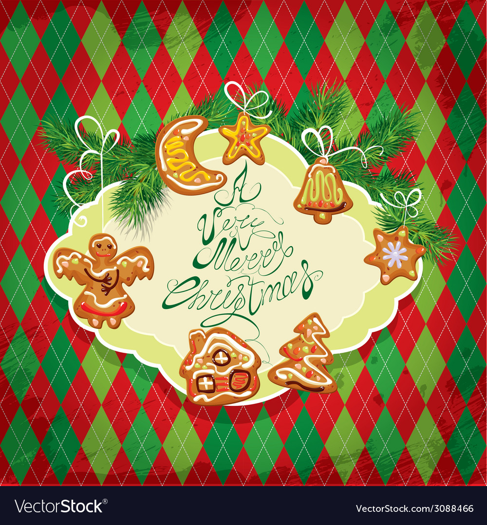 Card of xmas gingerbread - cookies in angel star m vector | Price: 1 Credit (USD $1)