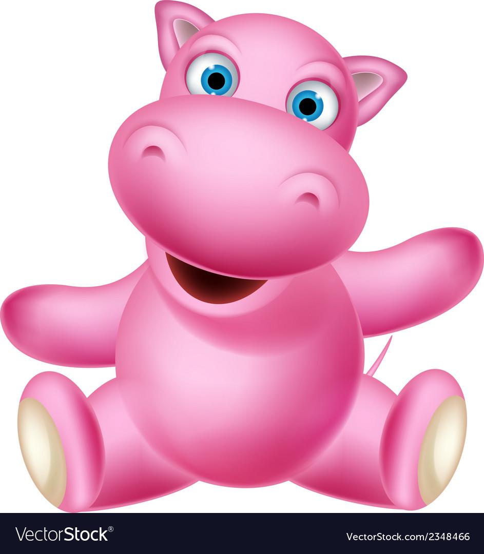 Cute baby hippo cartoon sitting vector | Price: 1 Credit (USD $1)