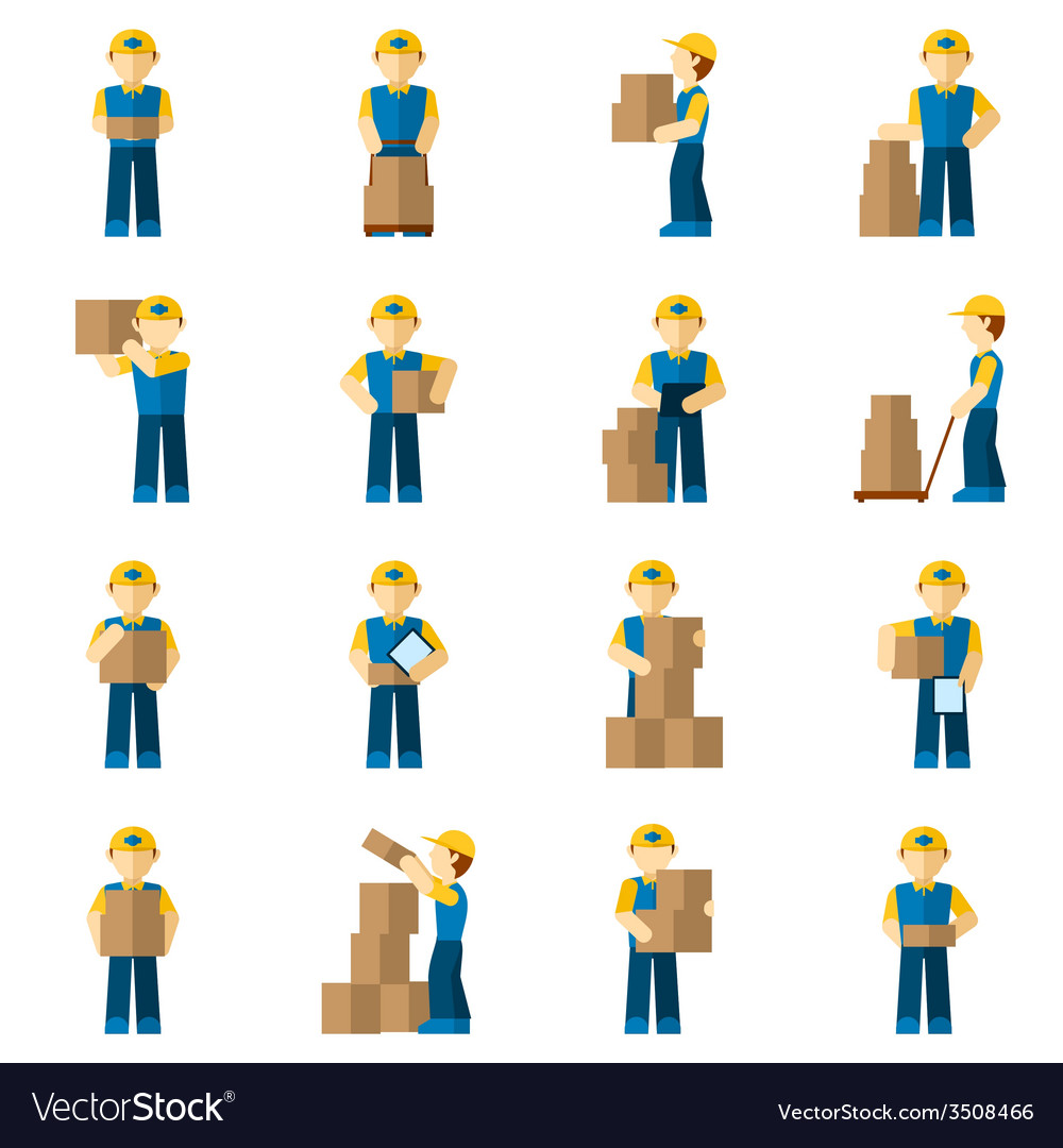 Delivery man icon flat vector | Price: 1 Credit (USD $1)