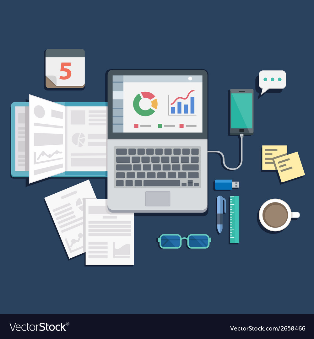 Flat desing of workplace with laptop on table vector | Price: 1 Credit (USD $1)