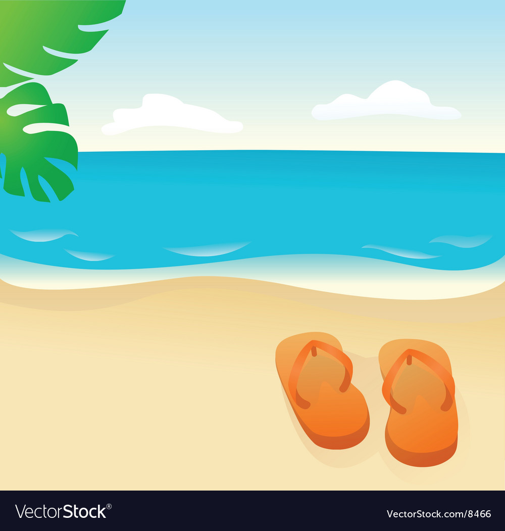Flip flops on the sand vector | Price: 1 Credit (USD $1)