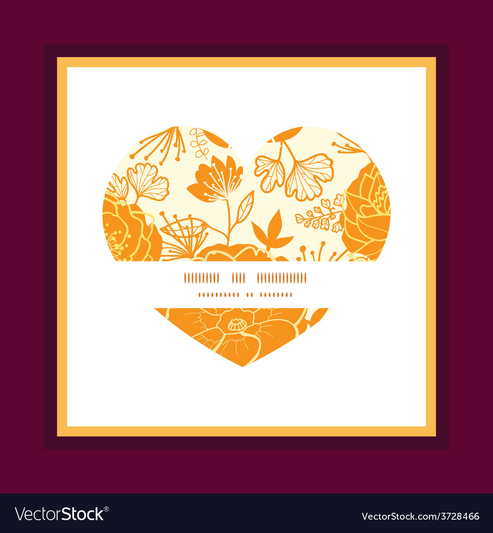 Golden art flowers heart symbol frame vector | Price: 1 Credit (USD $1)