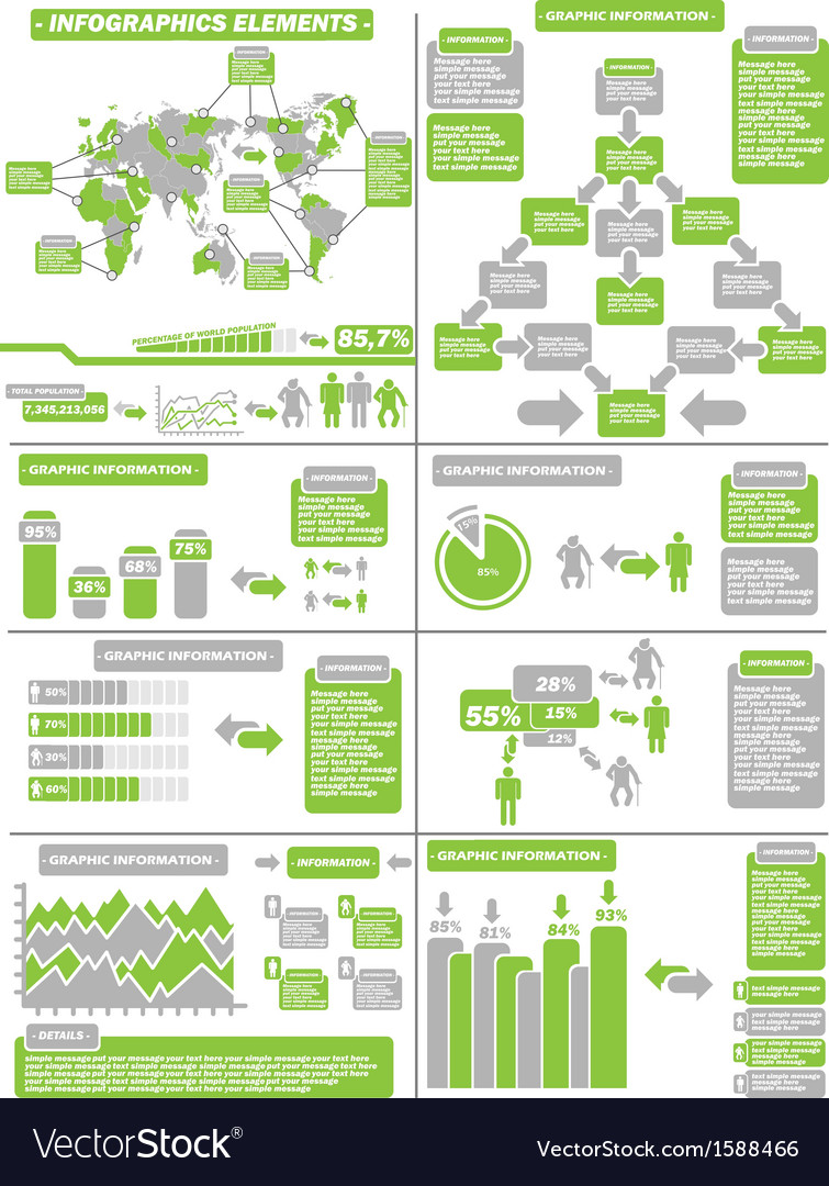 Infographic demographics green 11 vector | Price: 1 Credit (USD $1)