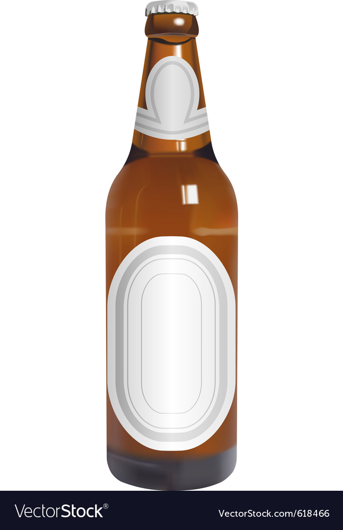 Realistic beer bottle with blank labels vector | Price: 1 Credit (USD $1)