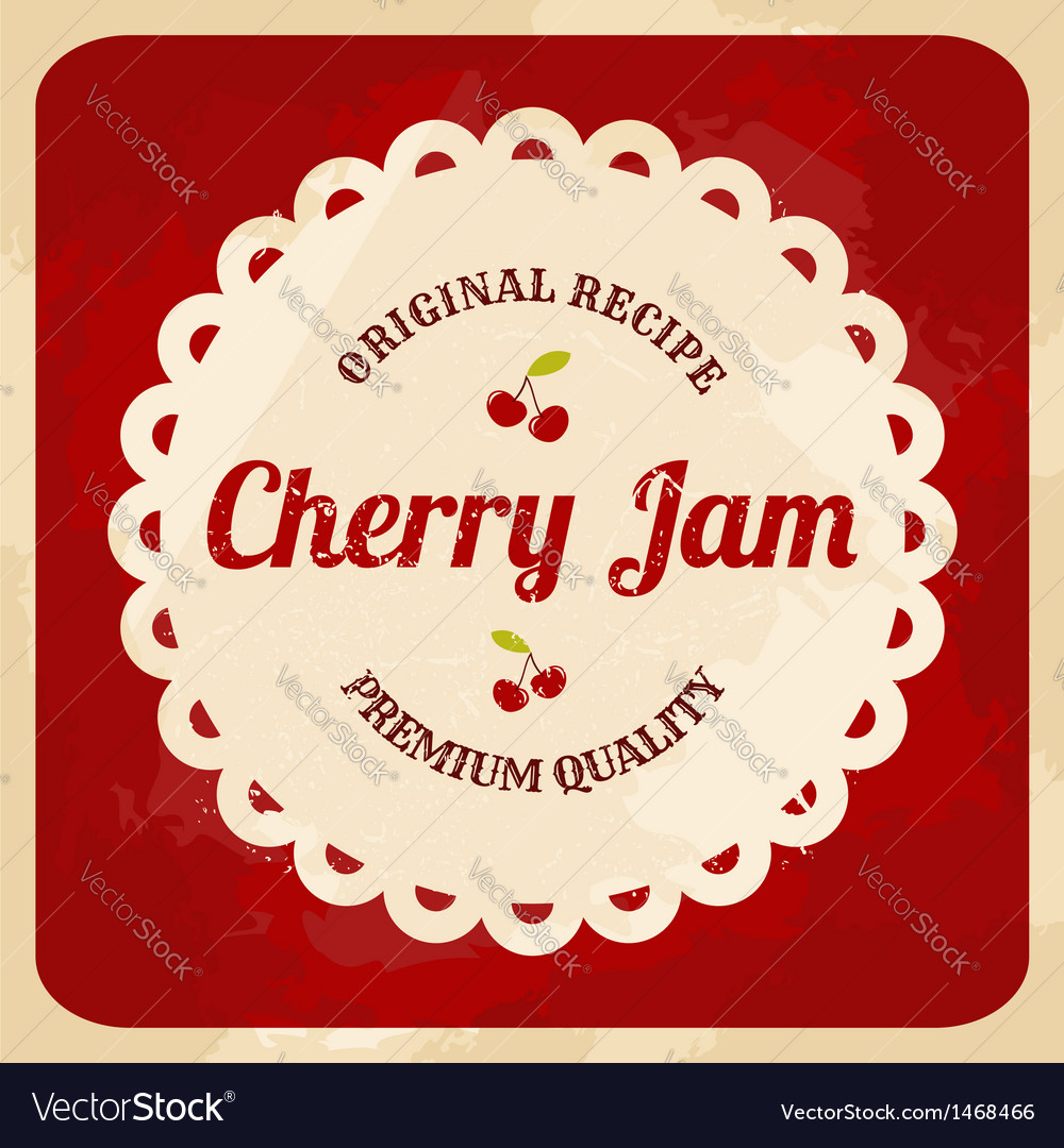 Retro style cherry jam label vector | Price: 1 Credit (USD $1)