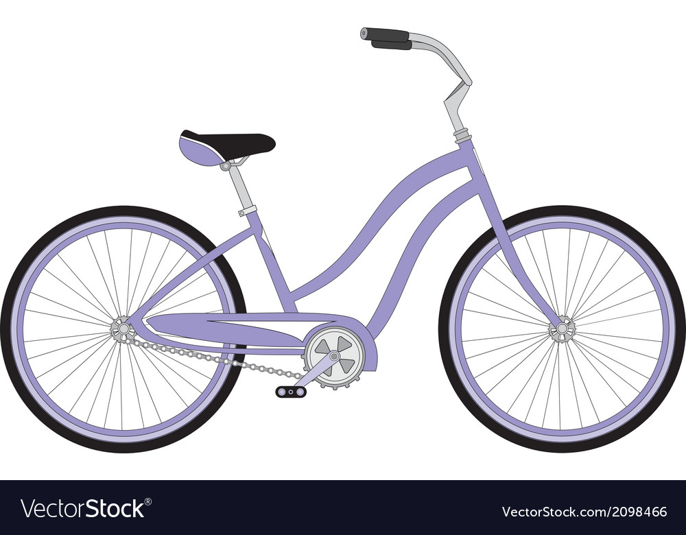 Retro woman sport bicycle on a white background vector | Price: 1 Credit (USD $1)