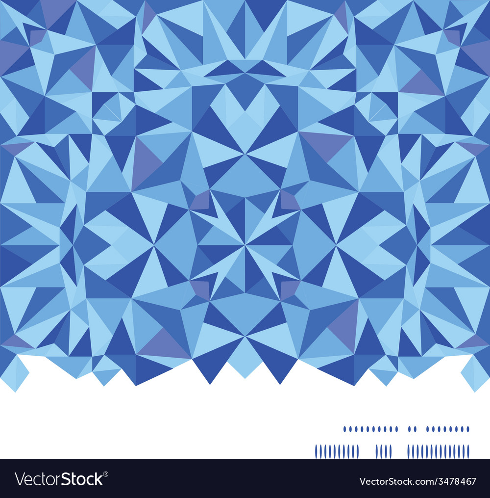 Blue triangle texture horizontal frame seamless vector | Price: 1 Credit (USD $1)