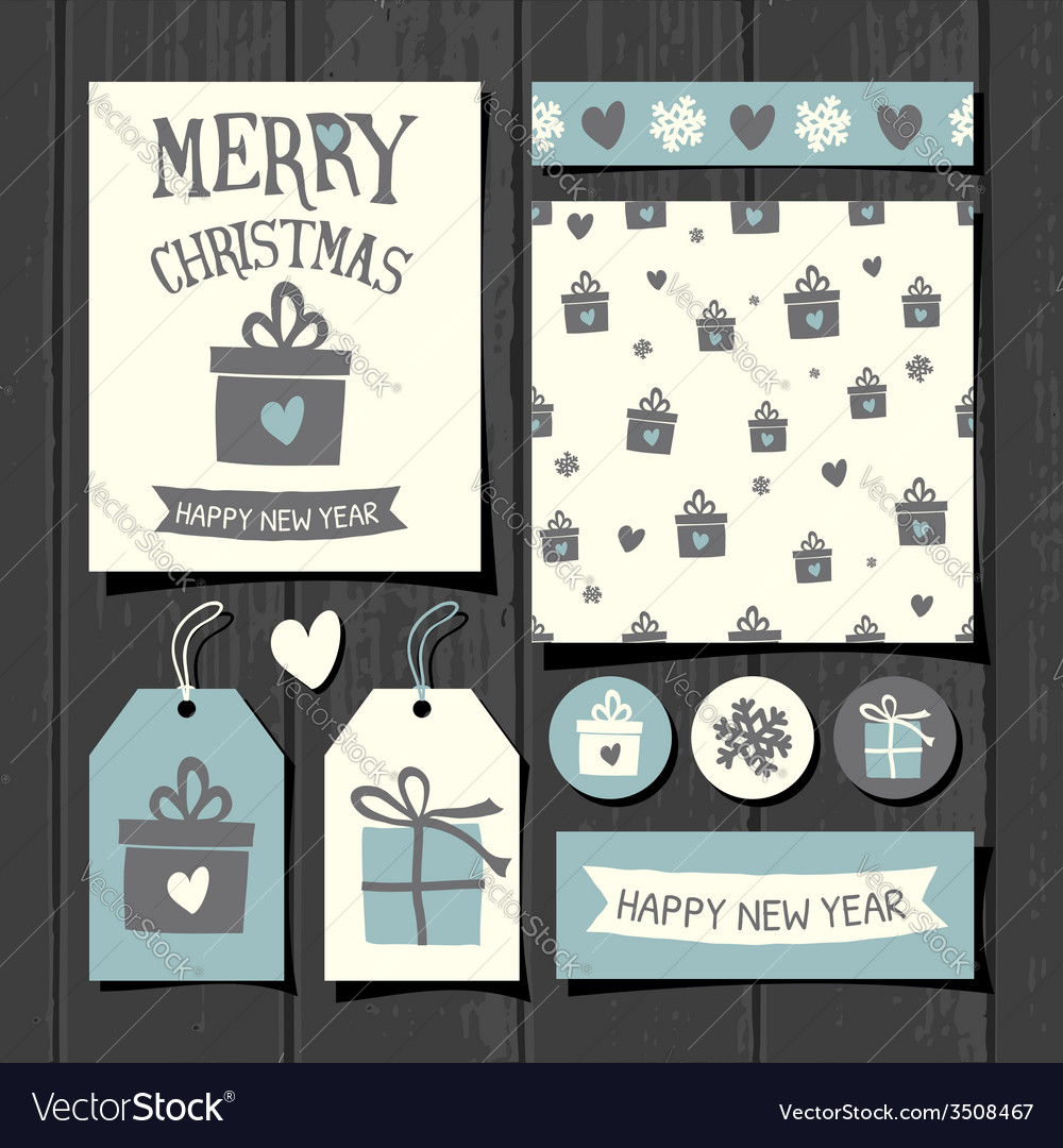 Christmas templates retro paper collection vector | Price: 1 Credit (USD $1)