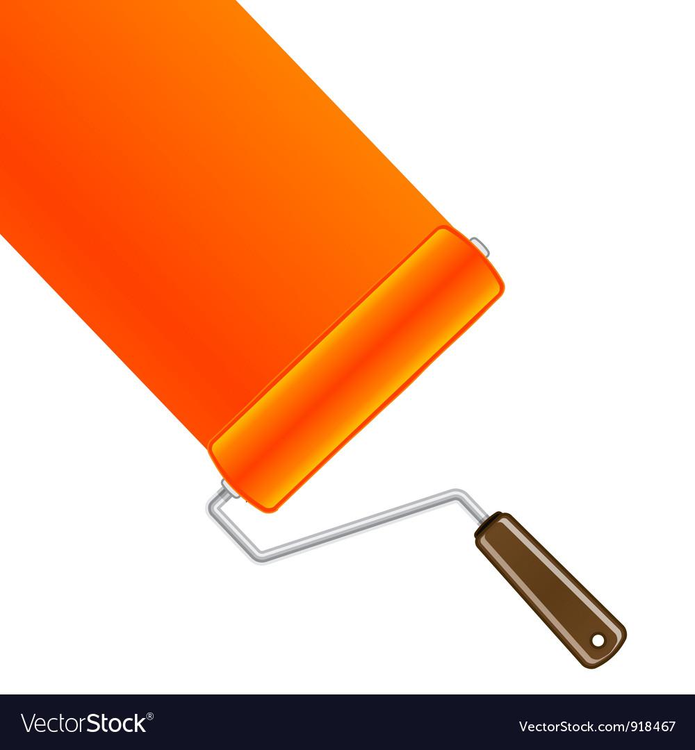 Orange paint roller background vector | Price: 1 Credit (USD $1)