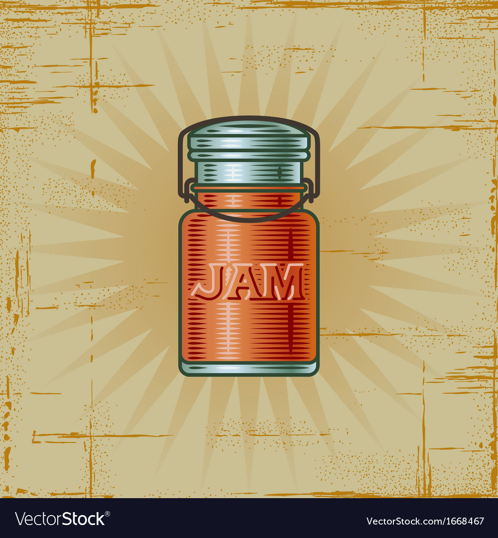 Retro jam jar vector | Price: 1 Credit (USD $1)