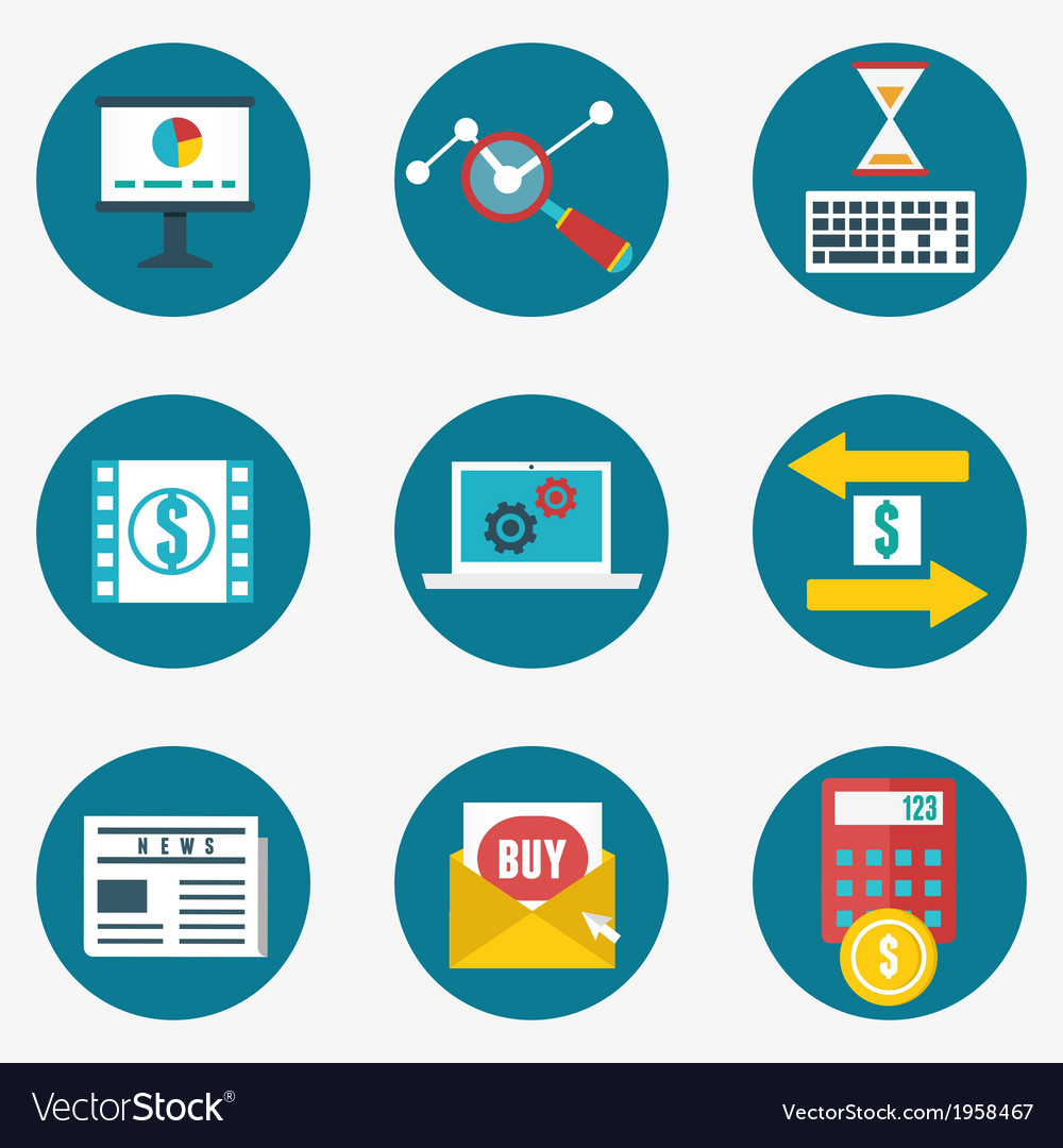 Set of business and management icons vector | Price: 1 Credit (USD $1)
