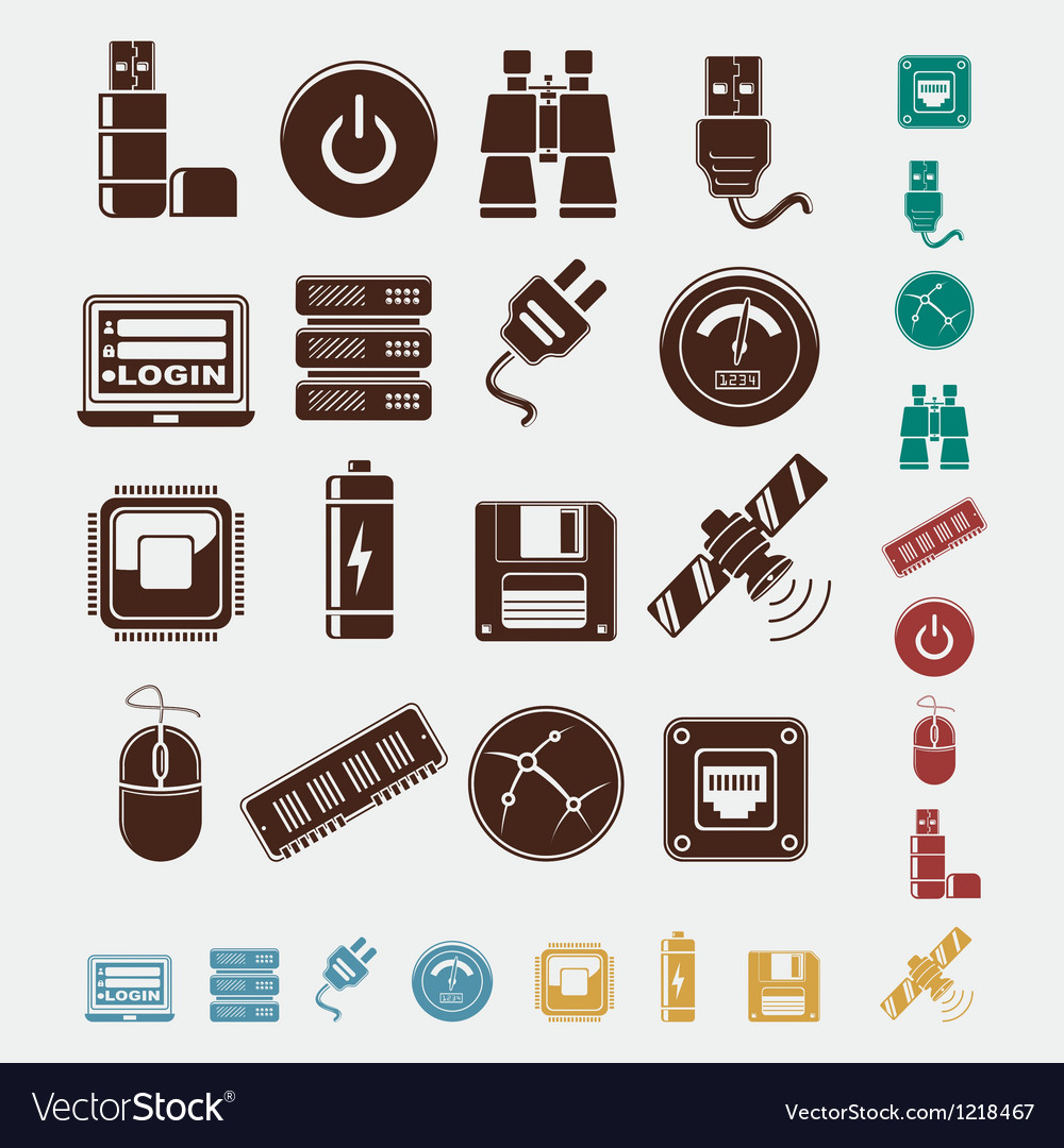 Set of hosting icons vector | Price: 1 Credit (USD $1)