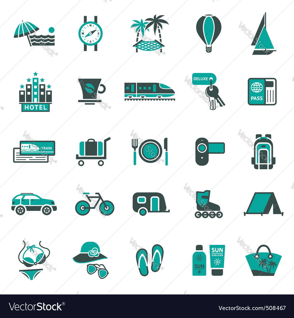 Signs vacation travel recreation second vector | Price: 1 Credit (USD $1)