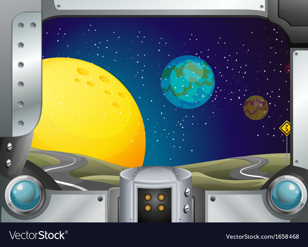 A metal frame with a view of the outerspace vector | Price: 3 Credit (USD $3)