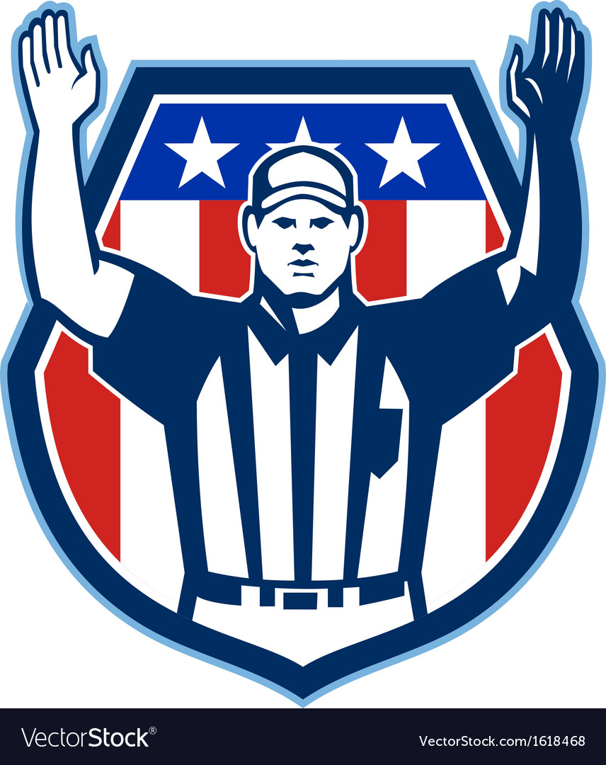 American football official referee touchdown vector | Price: 1 Credit (USD $1)