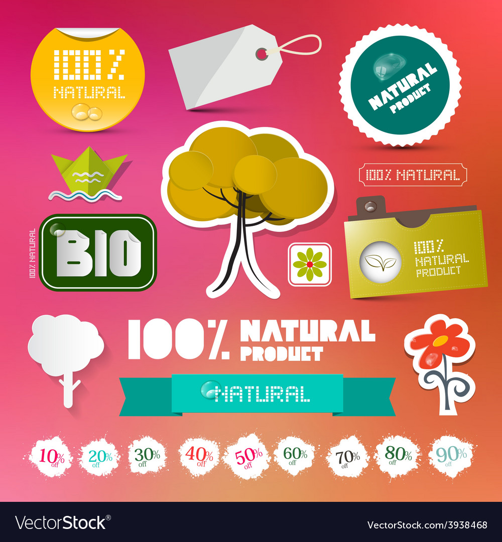 Bio - 100 natural labels set on blurred background vector | Price: 1 Credit (USD $1)