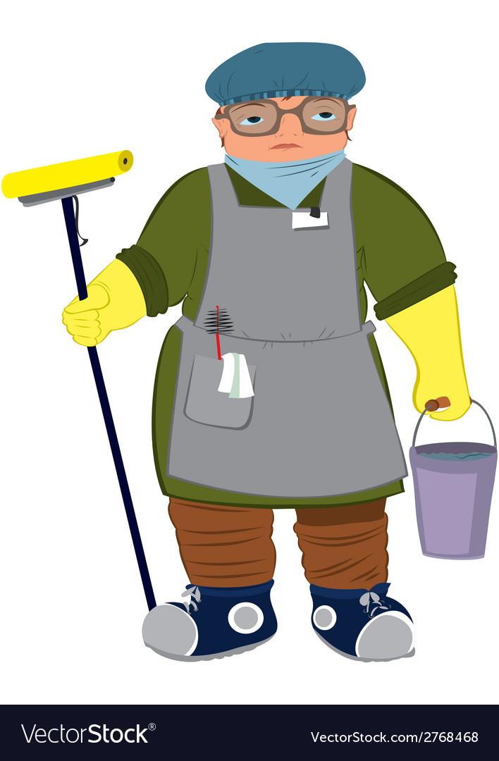 Cartoon woman in yellow gloves with floor mop vector | Price: 1 Credit (USD $1)