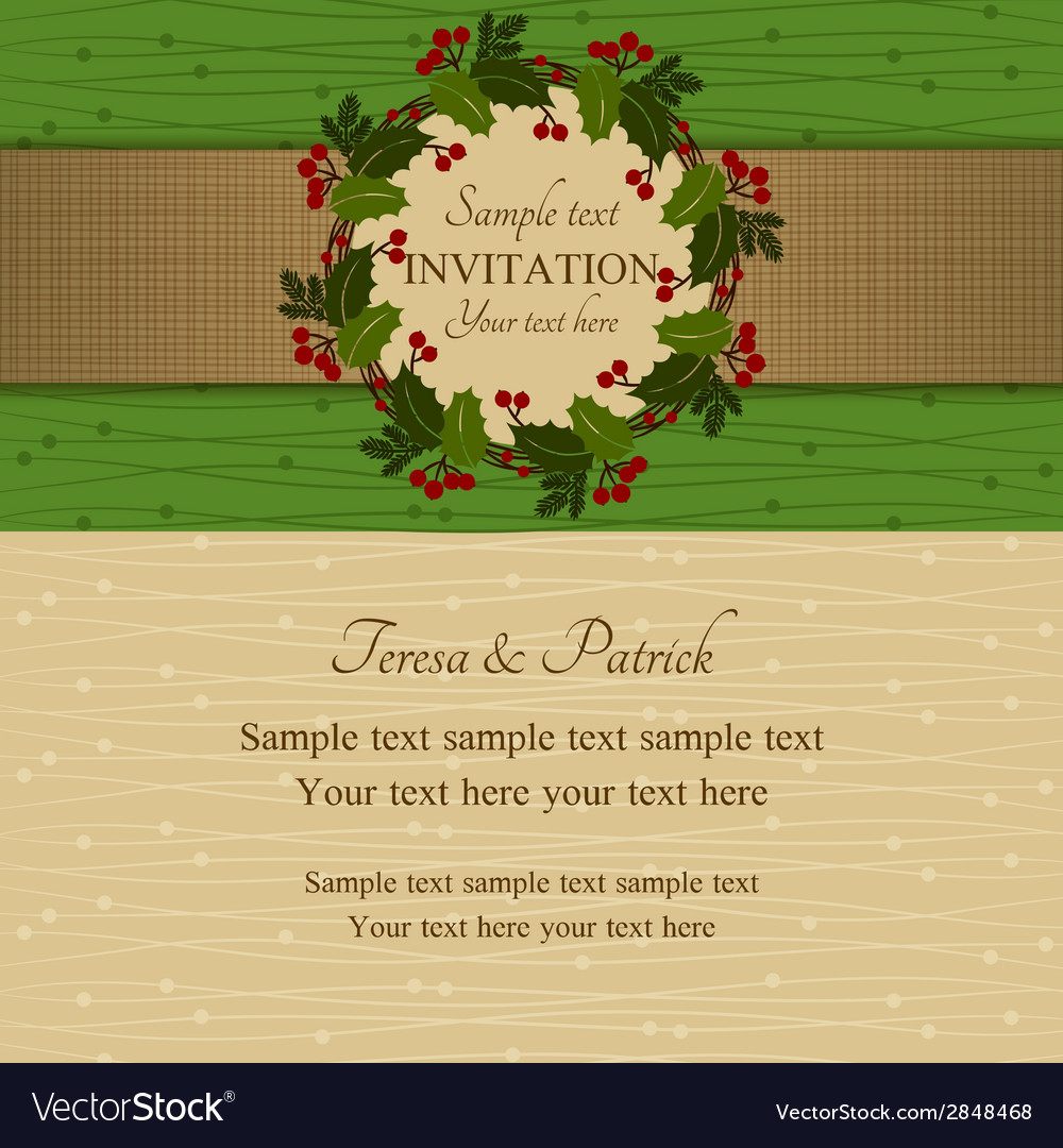 Christmas invitation green and beige vector | Price: 1 Credit (USD $1)