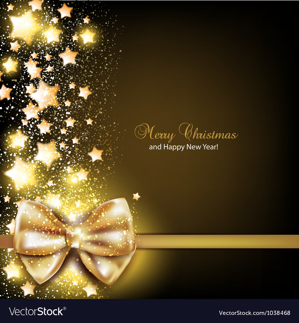 Elegant christmas background with golden bow vector | Price: 1 Credit (USD $1)
