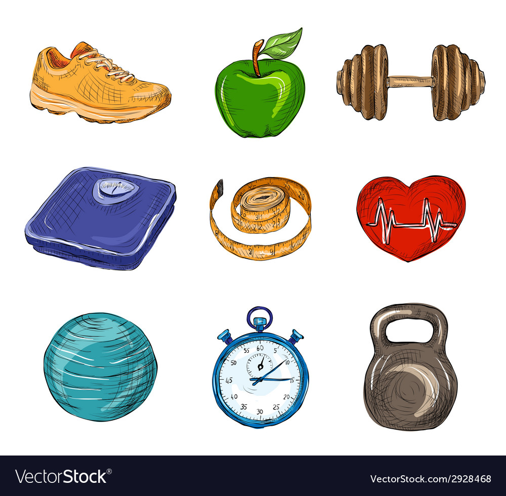 Fitness colored sketch icons vector | Price: 1 Credit (USD $1)