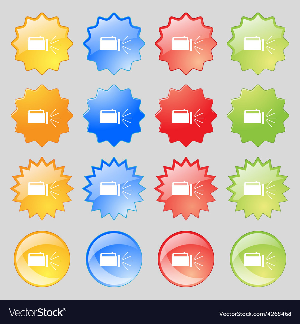 Flashlight icon sign big set of 16 colorful modern vector | Price: 1 Credit (USD $1)