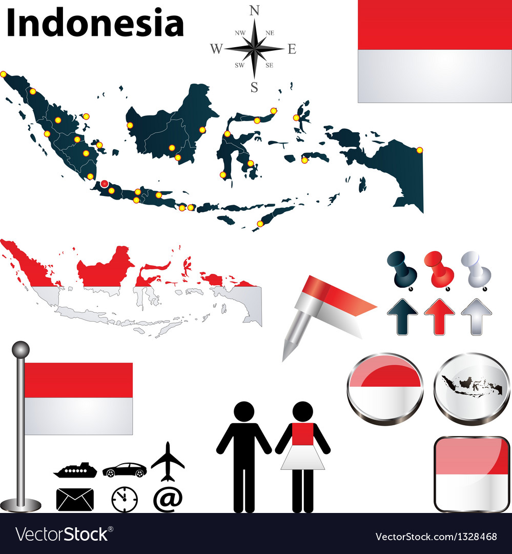 Map of indonesia vector | Price: 1 Credit (USD $1)