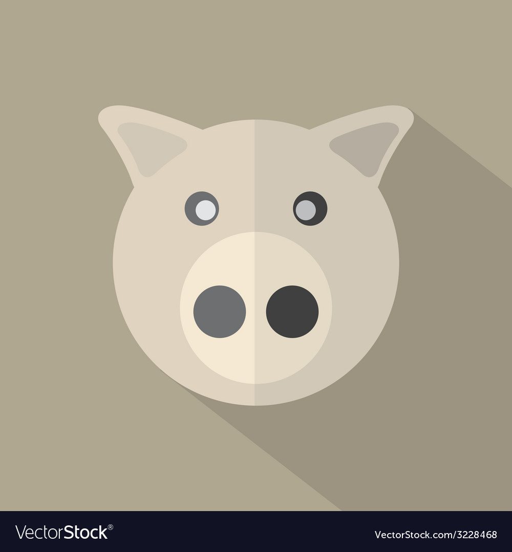 Modern flat design pig icon vector | Price: 1 Credit (USD $1)
