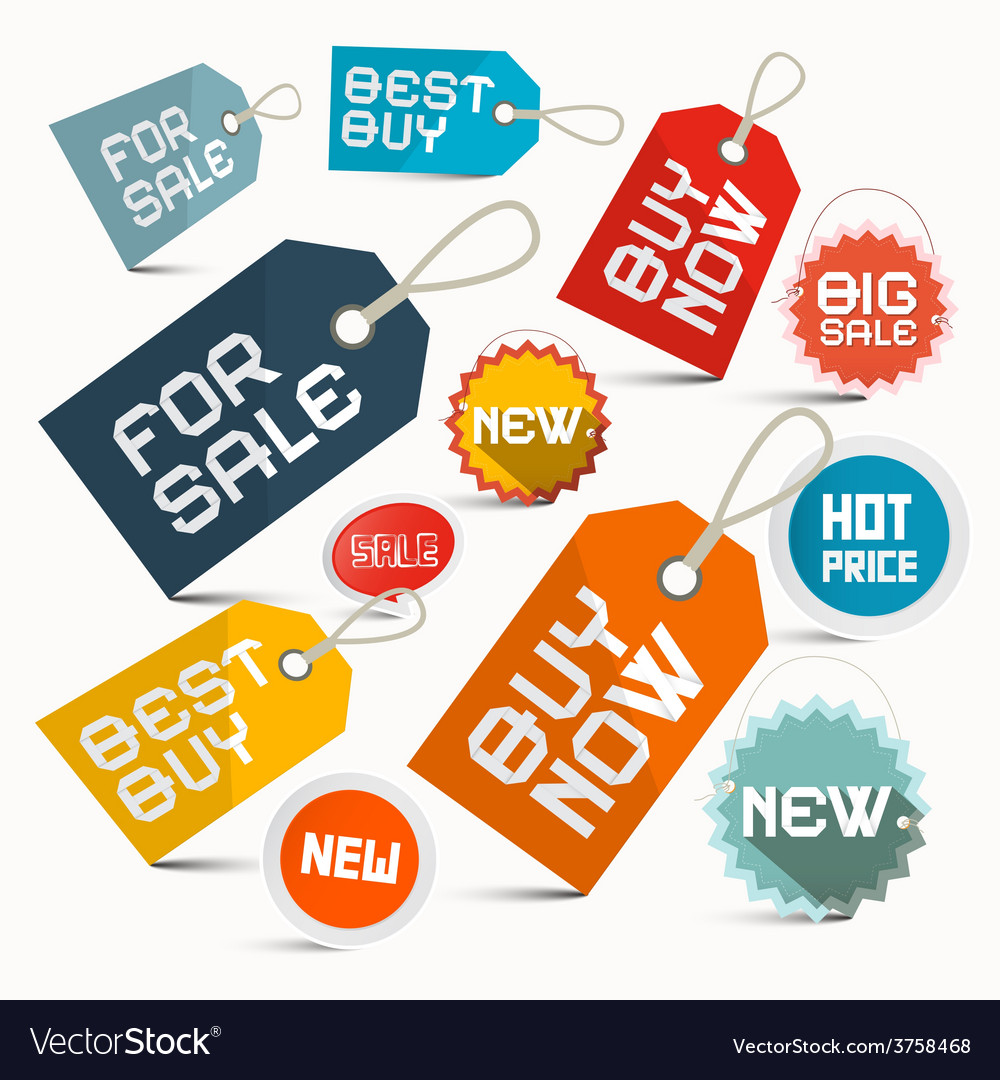 Paper business labels set isolated on white vector | Price: 1 Credit (USD $1)