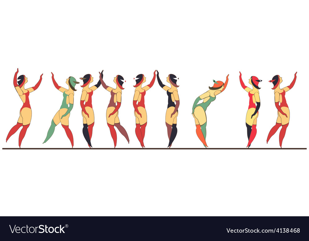 Set of circus dancer poster vector | Price: 3 Credit (USD $3)