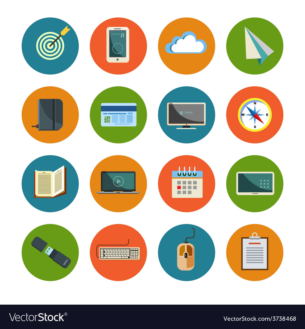 Set of office icons vector | Price: 1 Credit (USD $1)