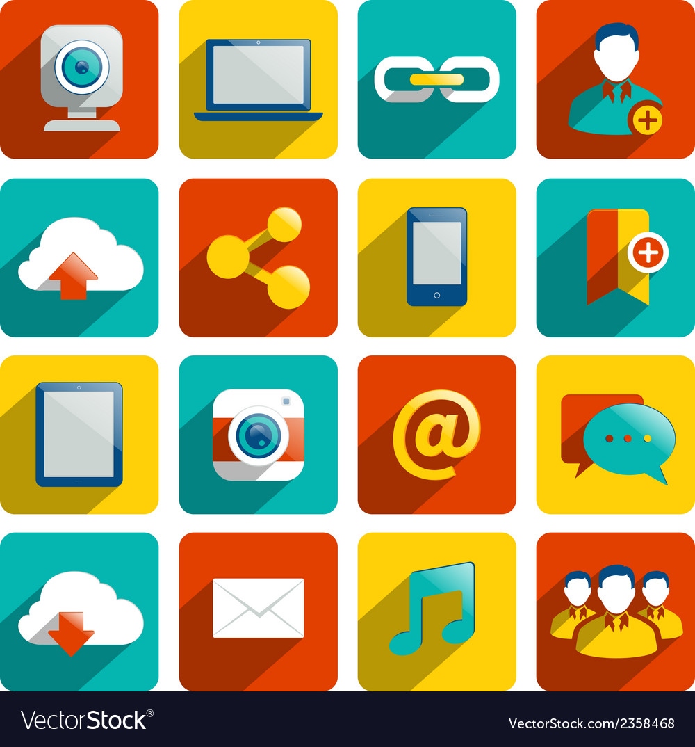 Social media icons flat vector | Price: 1 Credit (USD $1)