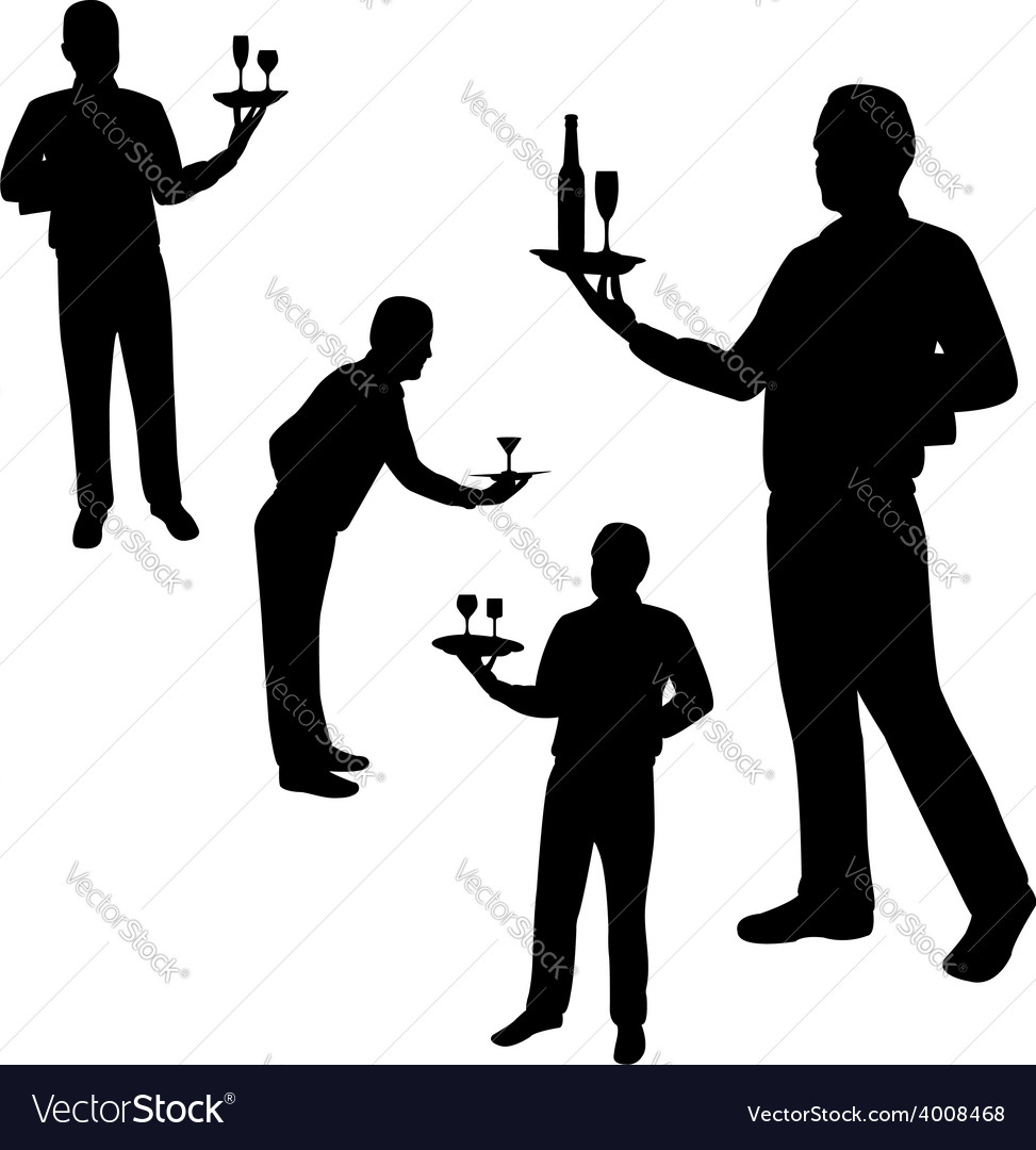 Waiters silhouettes vector | Price: 1 Credit (USD $1)