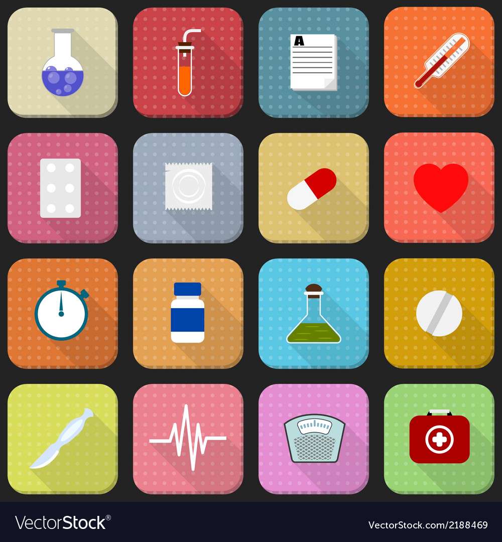 16 flat icons of health and medicine vector | Price: 1 Credit (USD $1)