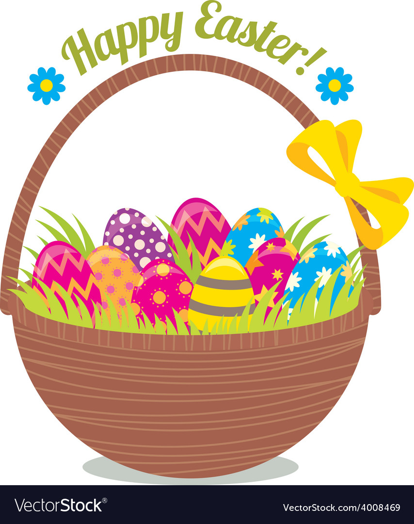 Basket of easter eggs isolated on a white backgrou vector | Price: 1 Credit (USD $1)