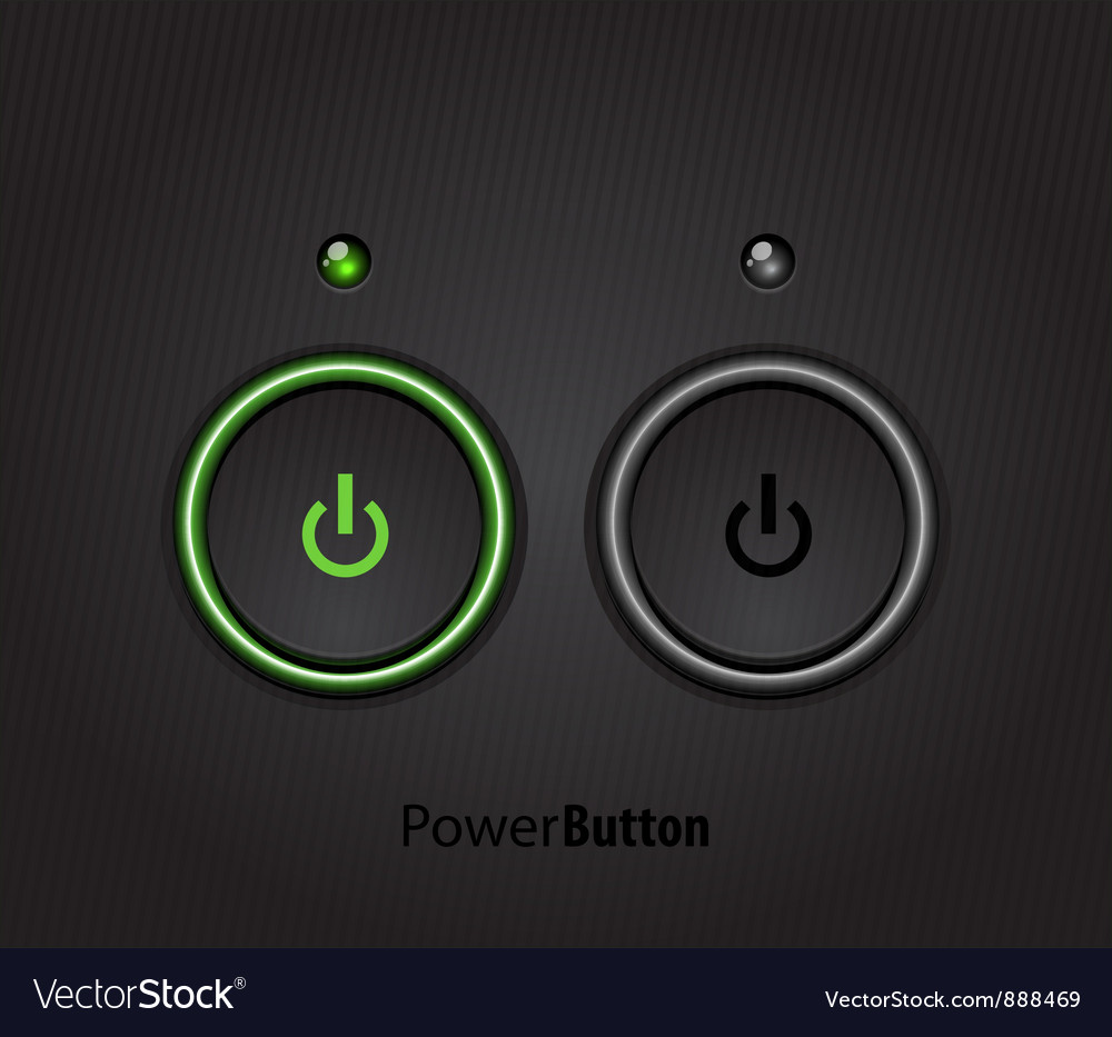 Black led light power button vector | Price: 1 Credit (USD $1)