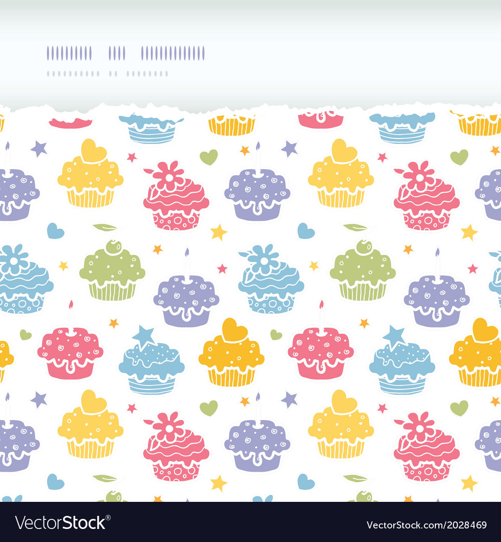 Colorful cupcake party horizontal torn seamless vector | Price: 1 Credit (USD $1)