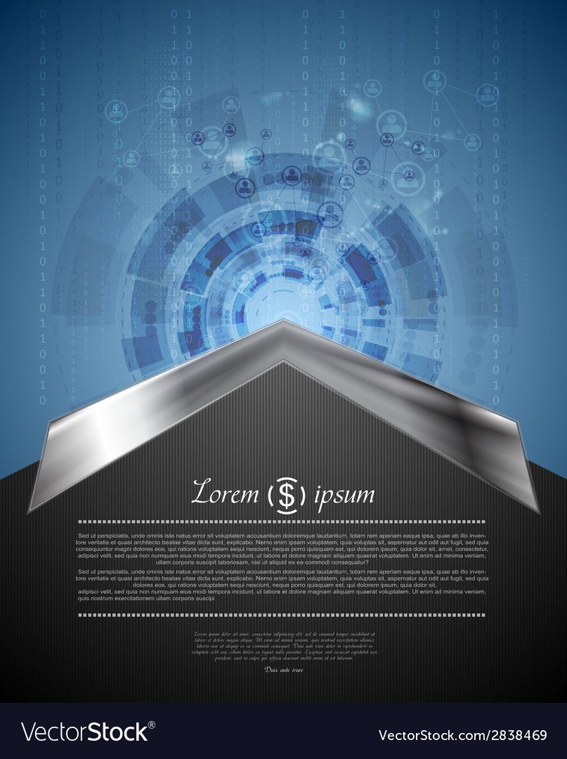Concept tech background with metal arrow vector | Price: 1 Credit (USD $1)