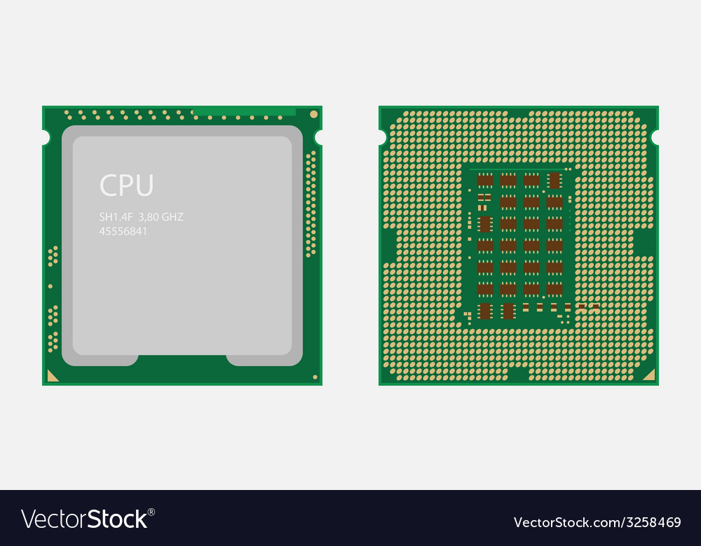 Cpu central processing unit computer chip or vector | Price: 1 Credit (USD $1)