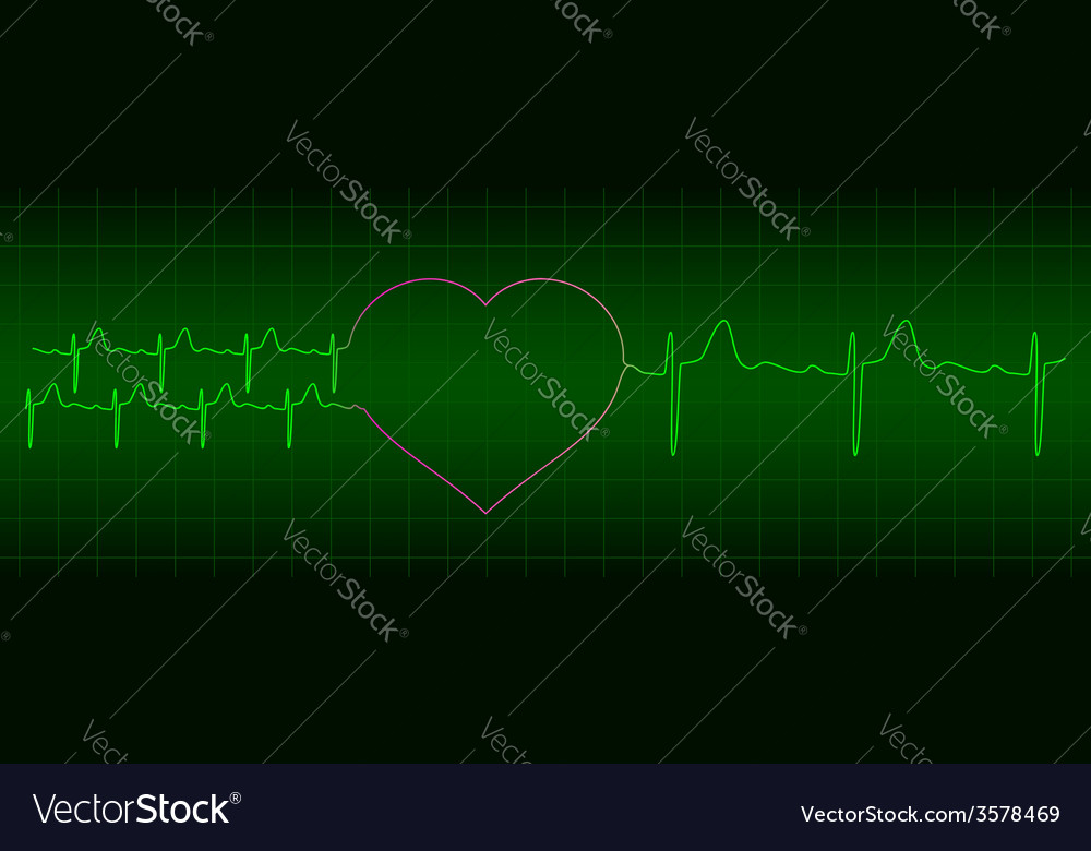 Ecg from two hearts after love to one heart vector | Price: 1 Credit (USD $1)