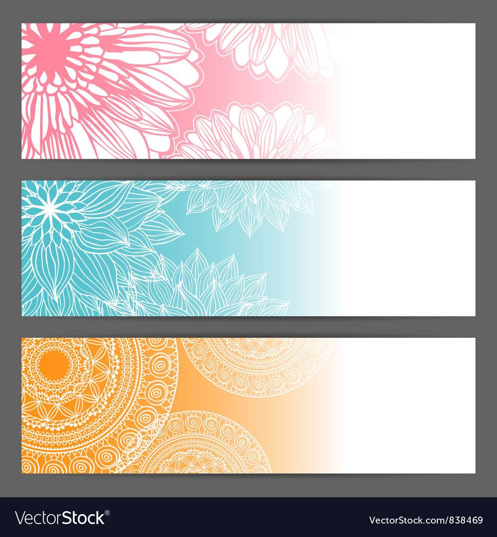 Floral background horizontal banner vector | Price: 1 Credit (USD $1)