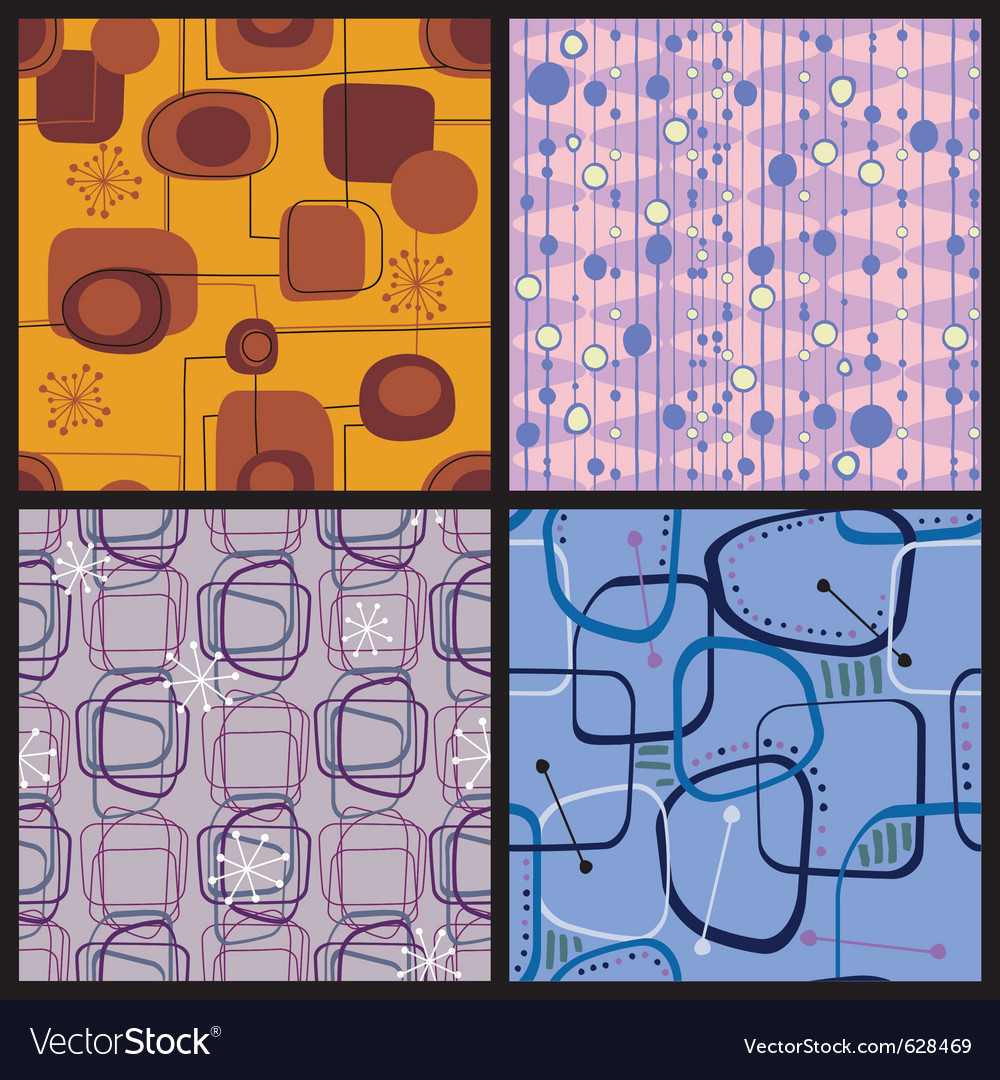 Four retro style colorful patterns vector | Price: 1 Credit (USD $1)