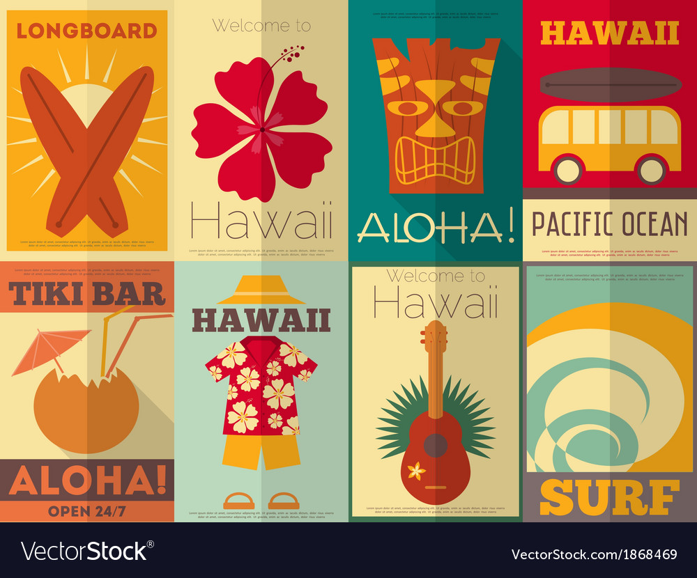 Hawaii surf retro posters vector | Price: 1 Credit (USD $1)
