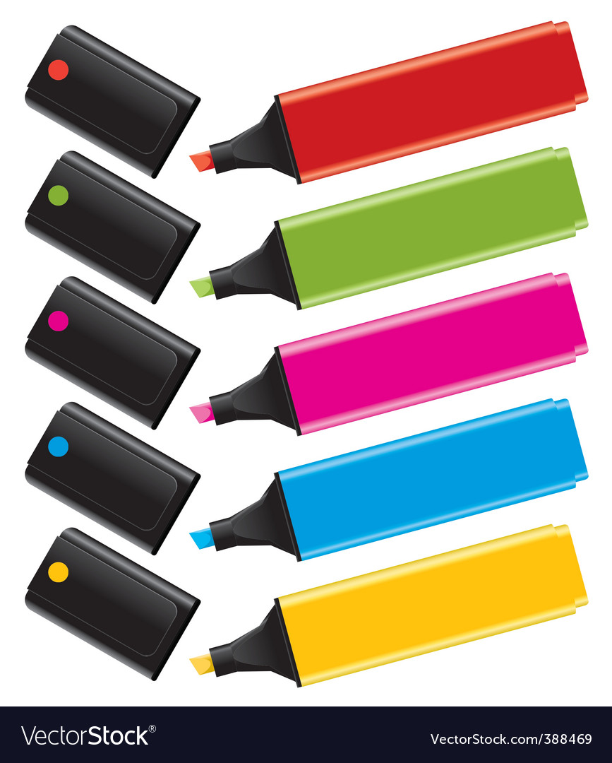 Highlighters with caps vector | Price: 1 Credit (USD $1)