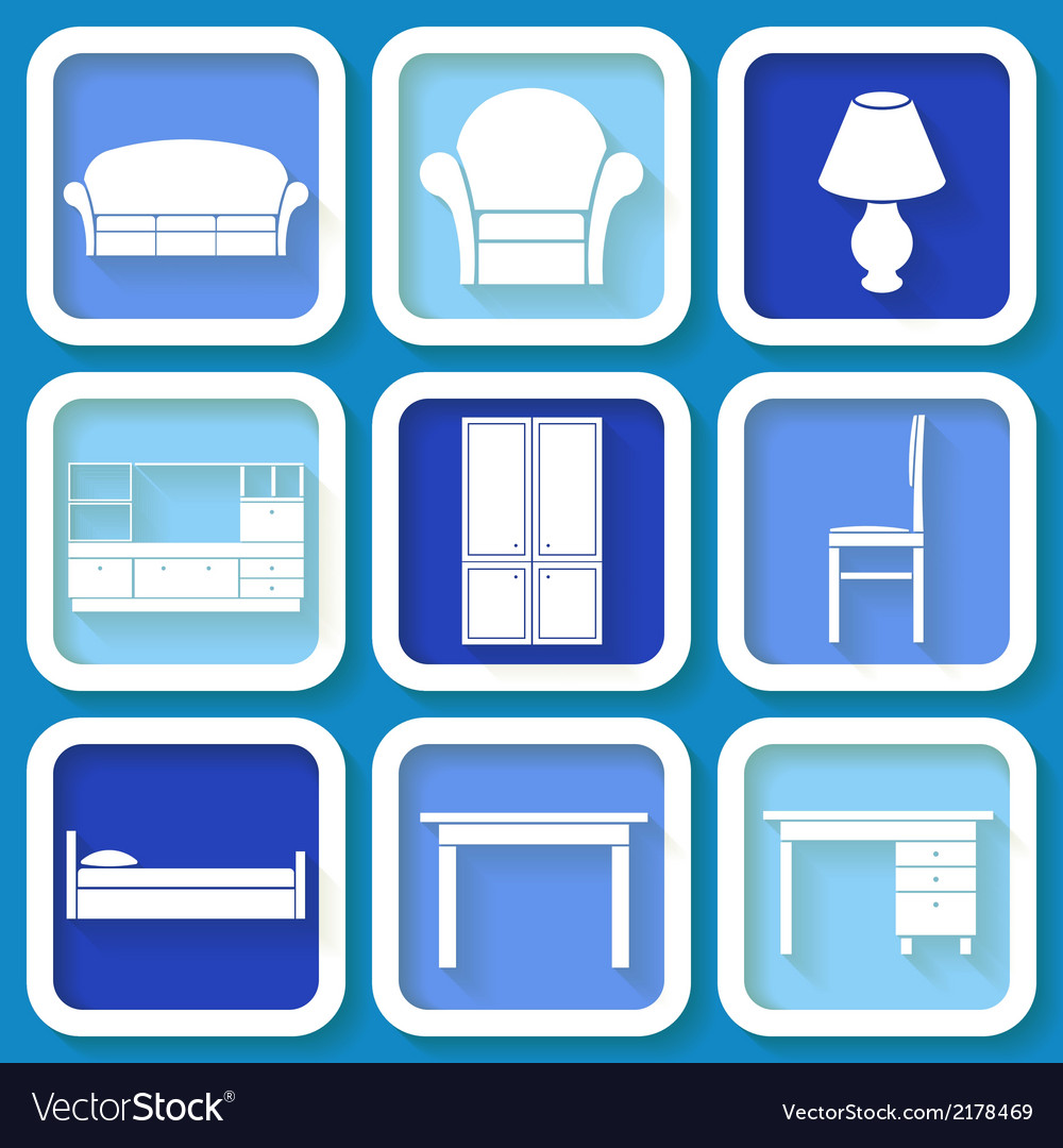 Set of 9 icons of furniture vector | Price: 1 Credit (USD $1)