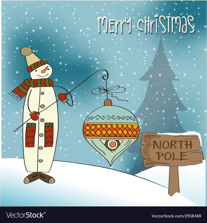 Snowman with big christmas ball vector | Price: 1 Credit (USD $1)