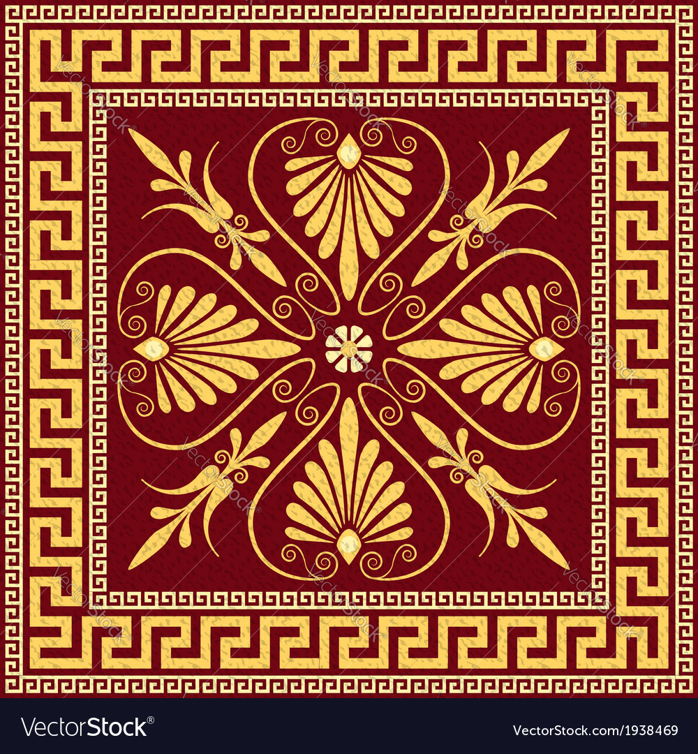 Vintage golden square greek ornament meander vector | Price: 1 Credit (USD $1)