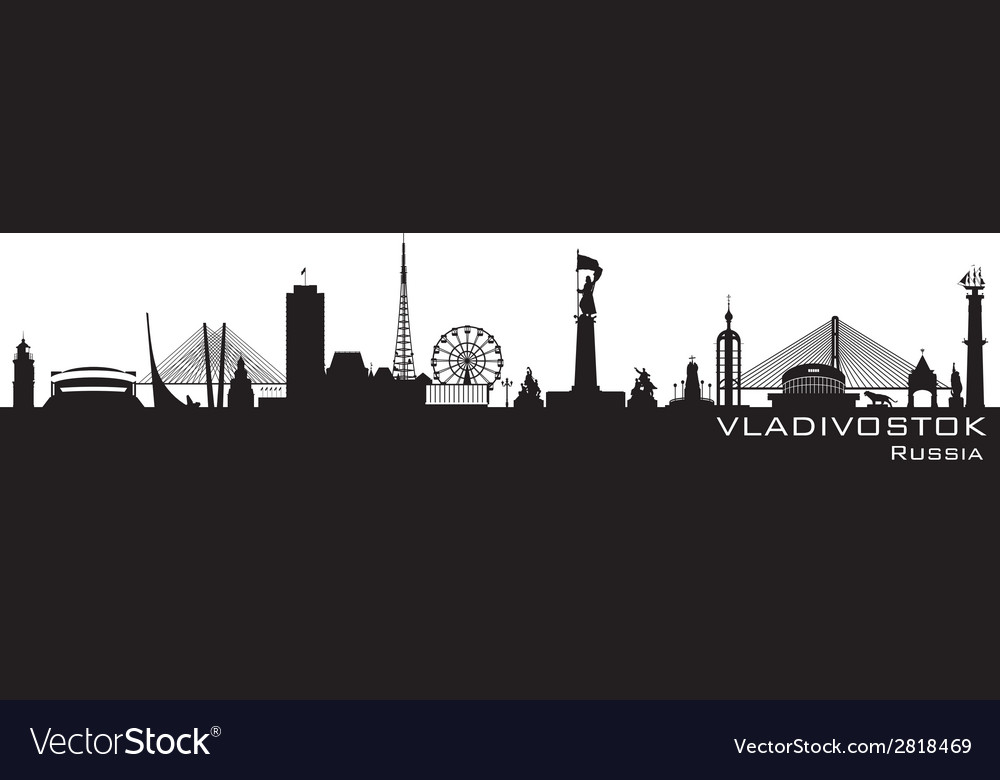 Vladivostok russia city skyline detailed silhouett vector | Price: 1 Credit (USD $1)