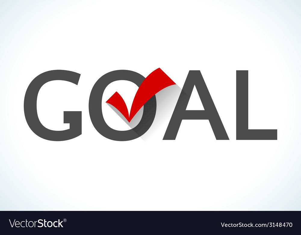 Business goal concept goal icon with red check vector | Price: 1 Credit (USD $1)