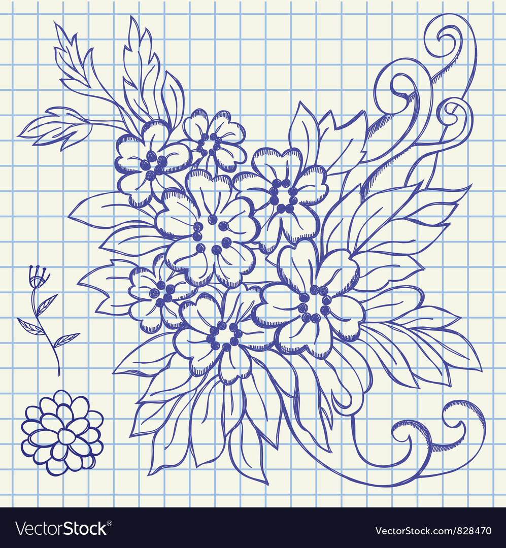 Floral drawing vector | Price: 1 Credit (USD $1)
