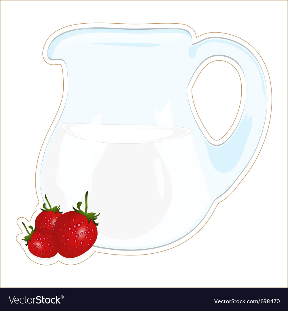 Jug of milk and strawberries vector | Price: 1 Credit (USD $1)